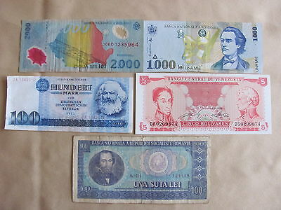 Lot 5 Banknotes from different countries