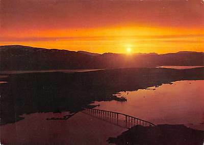 Norway View of the Tromso sound and the bridge in the midnight sun 1969