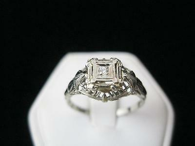 Antique 10K White Gold .03 Ct. Old European Cut Diamond Solitaire Ring