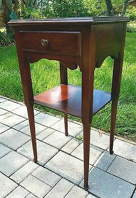 Mahogany Nightstand candle stand accent table chippendale Vintage 1950's
