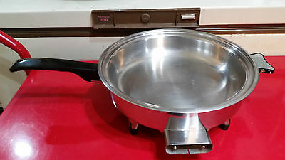 "1965 West Bend Webalco 11"" Stainless Steel Oil Core Electric Skillet 27140"