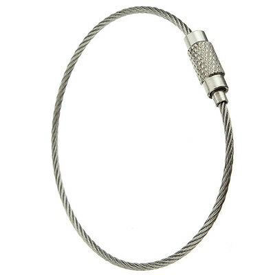 Stainless Steel Screw Locking Wire Keychain Cable Key Rings Outdoor L5B3