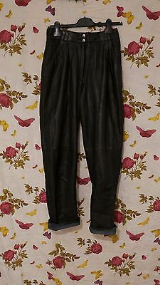 Vintage 1980s black LEATHER high waist tapered trousers 10-12