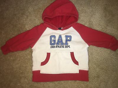 Boys Baby Gap Size 12-18 Months Pullover Hoodie Sweater Pocket Red White Blue @@