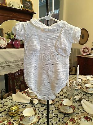 Vintage Infant Boys Hand Crocheted White Romper size 3 months