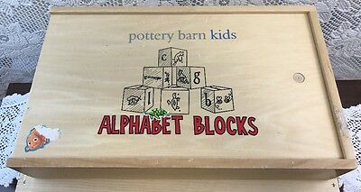 POTTERY BARN KIDS Wooden Alphabet Blocks ABC Animals In Box Educational Toy