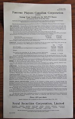 Rare 1929 Famous Players Theatres Share Offer Canada Movie House Cinemas
