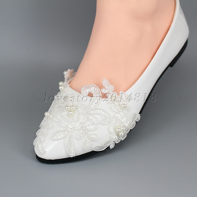 Lace Wedding Shoes Pearls Bridal shoes High Low Heels flat shoes pump size 5-12