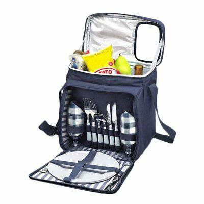 Insulated Picnic Cooler Basket Set Lunch Tote Bag For Two Person Accessories