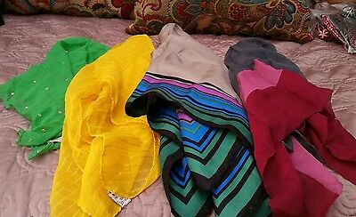 Lot of 4 vintage silk scarves all different sizes