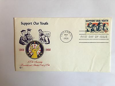United States Usa Us Fdc 1968 Cachets Youth Support Order Of Elks & Insert