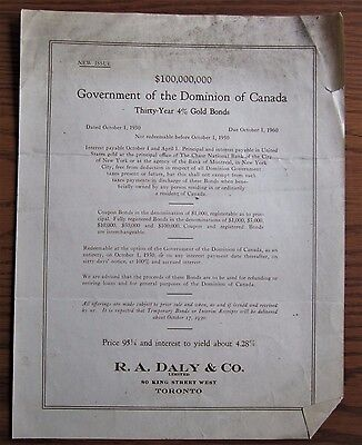 Rare 1930 Canadian Government 30 Year 4% Gold Bond Issue $100,000,000 Leaflet