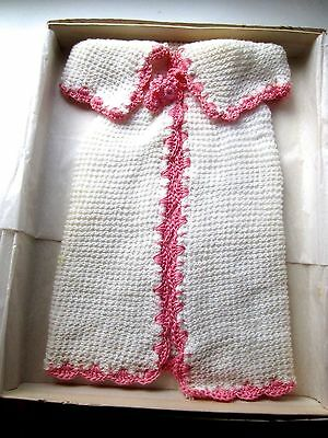 VINTAGE Knitted/Crocheted 3 PC Baby PRAM-Receiving Set NEW Pink-White