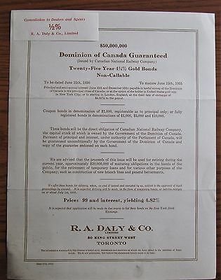 Rare 1930 Canadian Government 25 Year 4% Gold Bond Issue $50,000,000 Leaflet