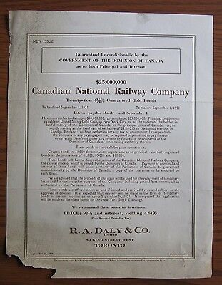 Rare 1931 Canadian National Railway 20 Year Gold Bond Issue 5% $25,000,000 Cnr