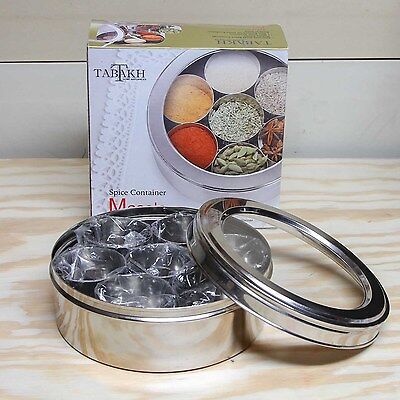 AMG Stainless Steel Masala Dabba/Spice Container Box w/ 7 spoons & dishes (DR1)