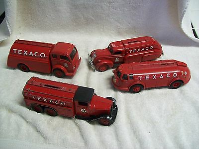 Lot of 4 ERTL Texaco Diecast Coin Bank 1930's- 40'sTank Trucks