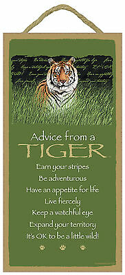 Advice from a Tiger Inspirational Wood Wild Animal Sign Plaque Made in USA