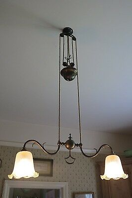 Antique victorian Brass Rise and Fall two armed light