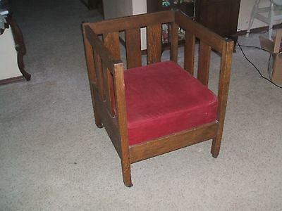 1910 Arts Crafts Mission Tiger Oak Cube Chair