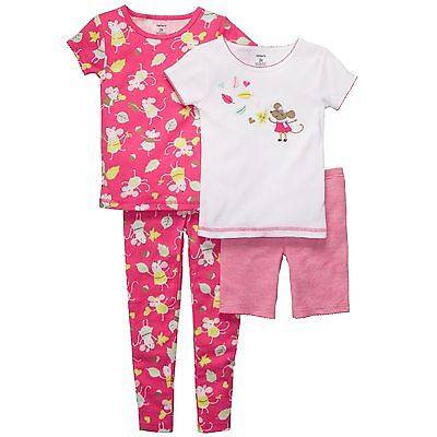 Carter's Girls 18 Months 4-Piece Pink Mouse Cotton Pajama Set WAS $32 NWT
