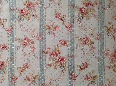 Antique French Shabby Pink Roses & Blue Striped Fabric