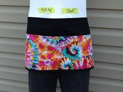 BLACK Short Petite Tie Dye 3 POCKET WAITRESS WAIST APRON BAR RESTAURANT