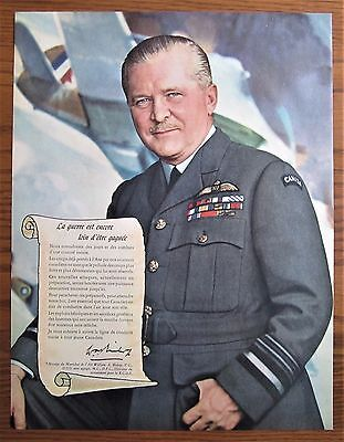 Rare 1943 Billy Bishop Victoria Cross Royal Canadian Air Force Recruiting Ad