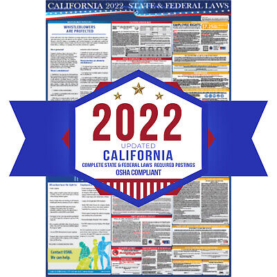 2017 California State & Federal Labor Law Poster - 26in x 36in - UV Coated