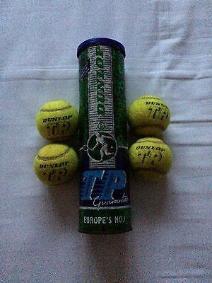 Tennis Balls  X 4  Dunlop  In Carton  Yellow  Used