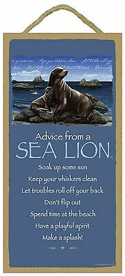 Advice from a Sea Lion Inspirational Wood Nautical Animal Sign Plaque USA Made