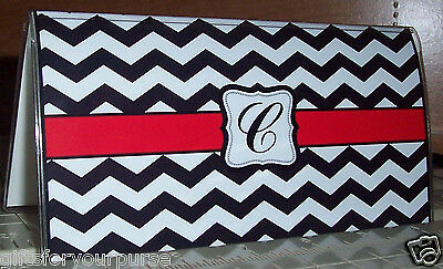 Personalized CHEVRON BLACK WHITE RED Checkbook Cover Gift Ideas! Giftsformypurse