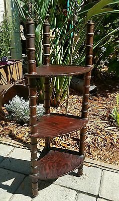 Corner wall shelf carved walnut faux bamboo countertop 3 tier chippendale curio
