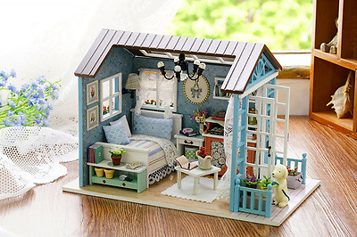Flever Dollhouse Miniature DIY House Kit Creative Room With Furniture for Romant