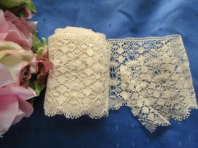 """LOVELY ANTIQUE LENGTH OF SPIDERWEB COTTON LACE~3 1/3 yards x 3 1/2""""~UNUSED"""