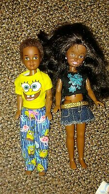African American Stacey and twin brother Mattel Barbie