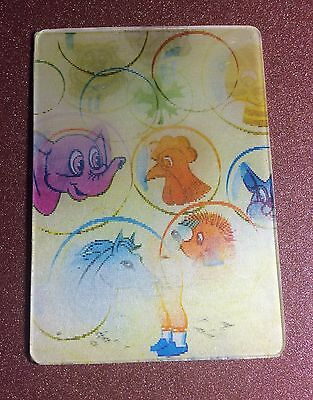 RARE 3D Stereo USSR lenticular small Calendar Boy Soap bubbles as animals