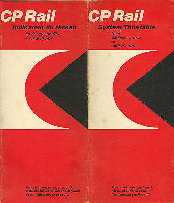 Cp Rail 0Ctober 1974 System Timetable