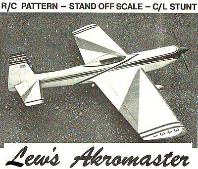 "Model Airplane Plans (UC/RC): Lew's Akromaster 57½"" UC Stunt or 57"" RC Acrobatic"