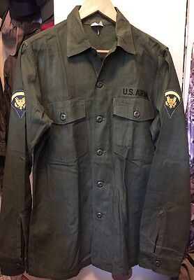 Vintage 1968's Vietnam War US Army Sateen OG 107 Poplin Uniform Shirt Jacket.