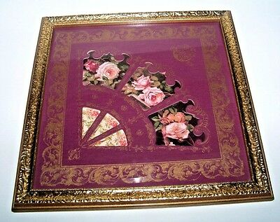 Beautiful Elegant Roses Fan Picture Wall Hanging With Gold Frame Home Interiors