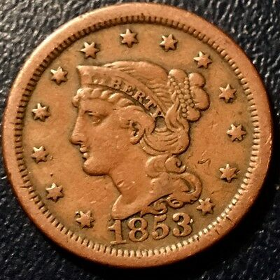 1853 Braided Hair Large Cent No Reserve