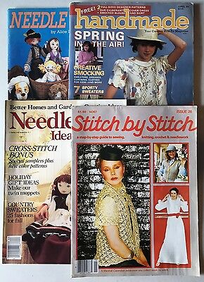 Lot of 4 Vintage Craft Magazines 1980's - Knit, Crochet, Needlework, Sewing