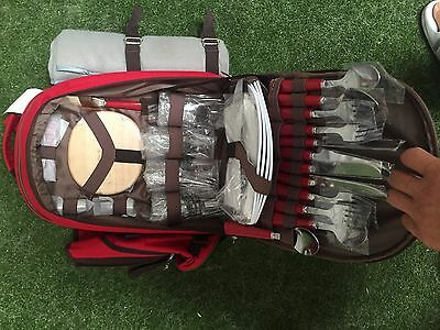 Brand New Backpacking Backpack Red Vintage Insulated Picnic Bag Great For Dates