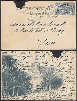 Monaco 1901 - Used postcard and used stamp to Paris...............(G29957) A4964
