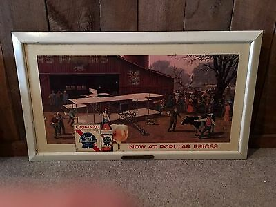 Rare Pabst Blue Ribbon Old Time Beer Flavor Airplane Bi-Plane Framed Sign Wright