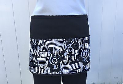Black Music Notes server waitress waist Half apron restaurant cafe Classyaprons