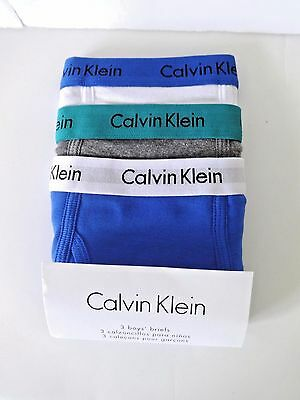 Calvin Klein Boys Briefs Size L 12/14 3 Pair Blue/gray/white