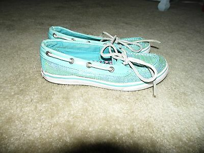 Sperry Top Sider Girls Youth Blue Sequin Boat Shoes Size 1.5 M