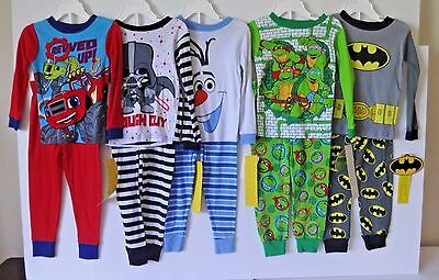 Large Lot Of 5 Pairs Toddler Boys Character Pajamas Size 3T